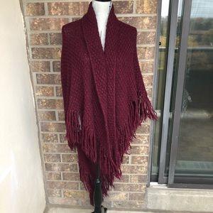 Sweaters - Burgundy Angora Poncho One Size